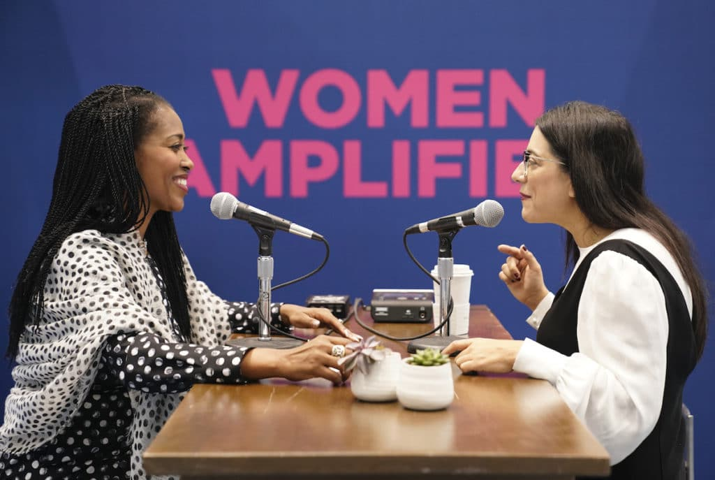 Laysha Ward, left, interviews Reshma Saujani at the MA Conference for Women